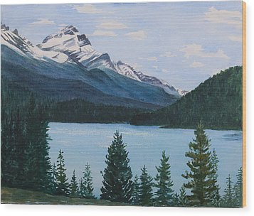 Rocky Mountains Wood Print by Debbie Homewood