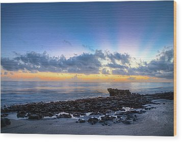 Wood Print featuring the photograph Rocky Reef At Low Tide by Debra and Dave Vanderlaan