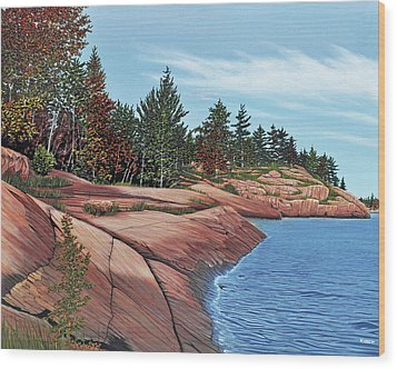 Wood Print featuring the painting Rocky River Shore by Kenneth M Kirsch