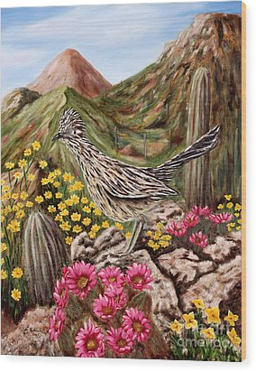 Wood Print featuring the painting Rocky Road Runner by Judy Filarecki