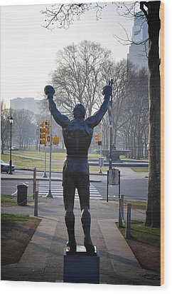 Rocky Statue From The Back Wood Print by Bill Cannon
