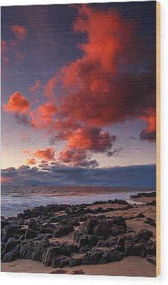 Rocky Sunset Wood Print
