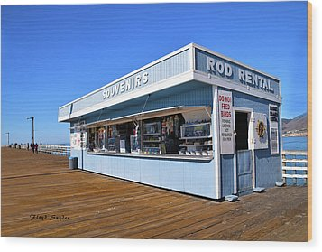 Wood Print featuring the photograph Rod Rental At The Pismo Beach Pier by Floyd Snyder