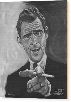 Rod Serling Wood Print by Mark Tavares