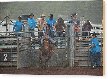 Wood Print featuring the photograph Rodeo Bronco by Lori Seaman