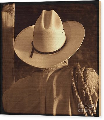 Rodeo Cowboy Wood Print by American West Legend By Olivier Le Queinec