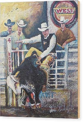 Rodeo Ride Wood Print by Linda Shackelford