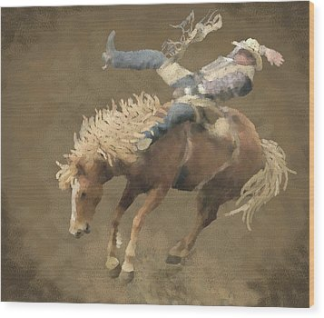 Rodeo Rider Wood Print by Kathie Miller