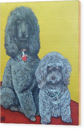 Roger And Bella Wood Print by Tom Roderick