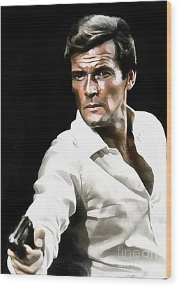 Roger Moore Wood Print by Sergey Lukashin