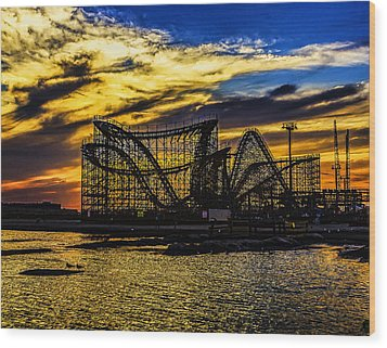 Roller Coaster Sunset Wood Print