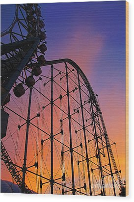 Roller Coaster At Sunset Wood Print
