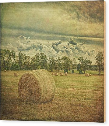Wood Print featuring the photograph Rollin' Hay by Lewis Mann
