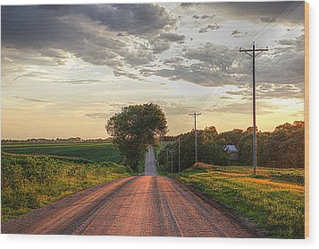 Rolling Down A Country Road Wood Print by Karen McKenzie McAdoo