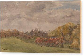 Rolling Fields In The Fall Wood Print by Debbie Homewood