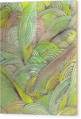 Rolling Patterns In Greens Wood Print by Wayne Potrafka