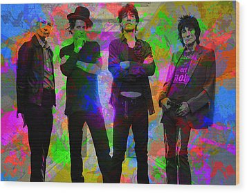 Rolling Stones Band Portrait Paint Splatters Pop Art Wood Print