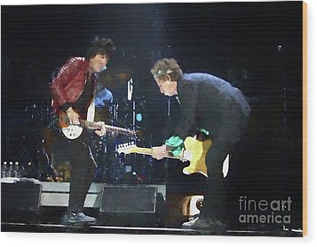 Rolling Stones Ron Wood Keith Richards Painting Wood Print