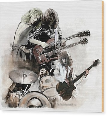 Wood Print featuring the painting Rolling Thunder Led Zeppelin by Iconic Images Art Gallery David Pucciarelli