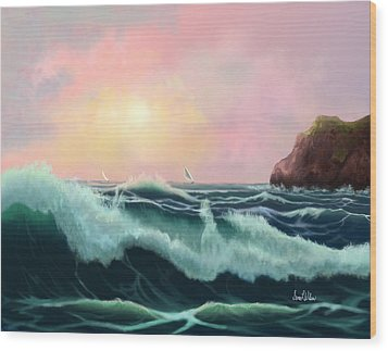 Wood Print featuring the painting Rolling Waves by Sena Wilson