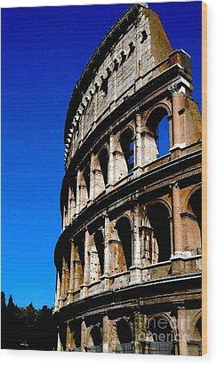 Roman Coliseum By Day Wood Print by Alberta Brown Buller