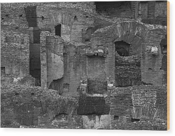 Wood Print featuring the photograph Roman Colosseum Bw by Silvia Bruno