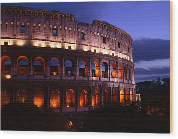 Roman Colosseum At Night Wood Print by Warren Home Decor