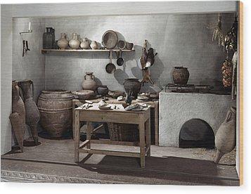 Roman Kitchen, 100 A.d Wood Print by Granger