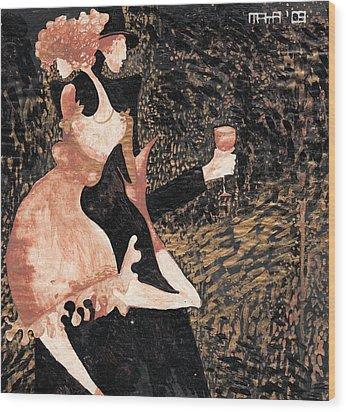 Wood Print featuring the painting Romance De Paris by Maya Manolova