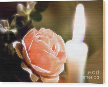 Wood Print featuring the digital art Romance In A Peach Rose by Linda Phelps