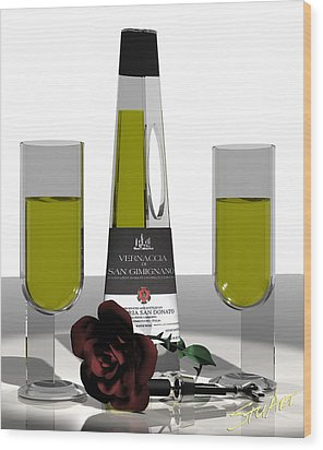 Romance Italian Contemporary Wine Wood Print