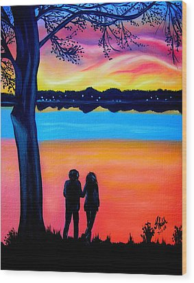 Romance On The Bay Wood Print by Kathern Welsh