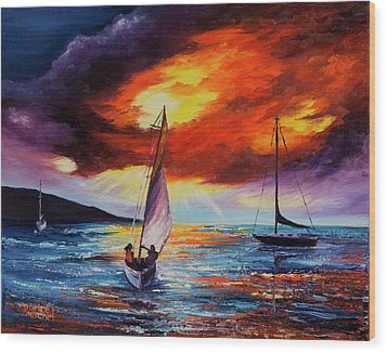 Wood Print featuring the painting Romancing The Sail by Darice Machel McGuire