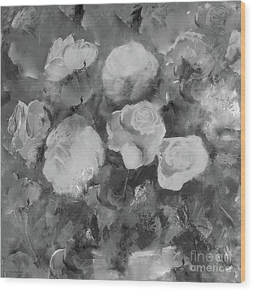Wood Print featuring the painting Romantic Large Roses  by Robin Maria Pedrero