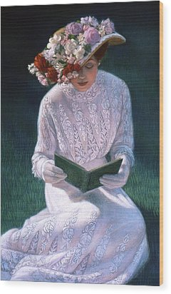 Wood Print featuring the painting Romantic Novel by Sue Halstenberg