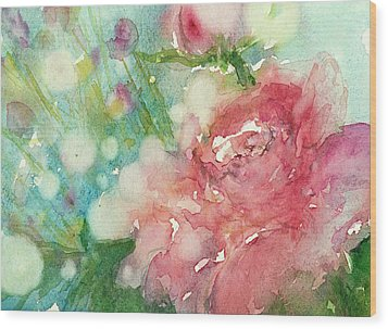 romantic Rose Wood Print by Judith Levins
