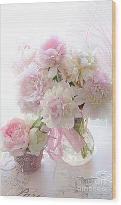 Romantic Shabby Chic Pink White Peonies - Shabby Chic Peonies Pastel Decor Wood Print by Kathy Fornal