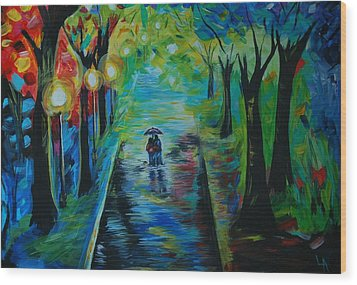 Wood Print featuring the painting Romantic Stroll by Leslie Allen