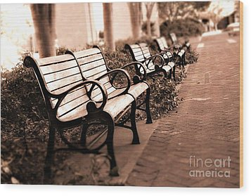 Romantic Surreal Park Bench Pink Sepia Tones Wood Print by Kathy Fornal