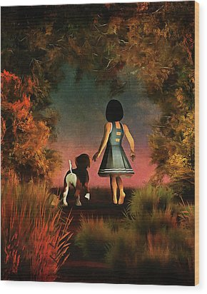 Romantic Walk In The Woods Wood Print