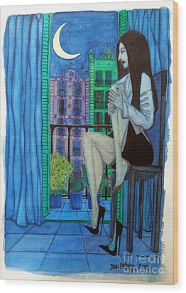 Wood Print featuring the painting Romantic Woman At Balcony by Don Pedro De Gracia