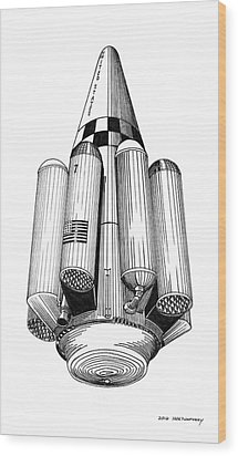 Wood Print featuring the drawing Rombus Heavey Lift Reusable Rocket by Jack Pumphrey