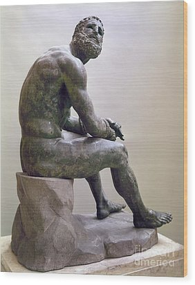 Rome Boxer Sculpture Wood Print by Granger