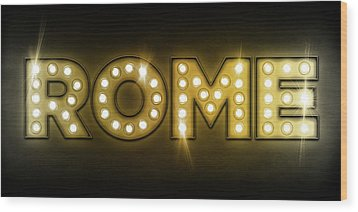 Rome In Lights Wood Print by Michael Tompsett