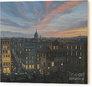 Rome In The Light Of Sunset Wood Print by Kiril Stanchev