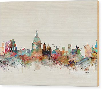 Wood Print featuring the painting Rome Italy Skyline by Bri B