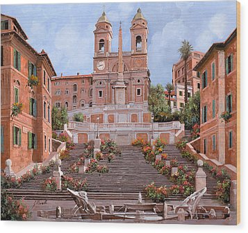 Rome-piazza Di Spagna Wood Print by Guido Borelli