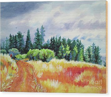 Wood Print featuring the painting Romp On The Hill by Kathy Braud