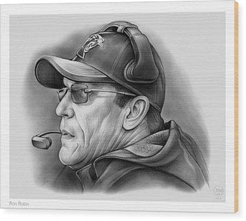Ron Rivera Wood Print by Greg Joens