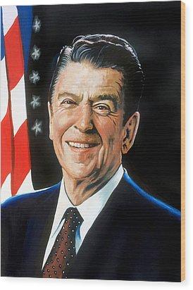 Ronald Reagan Portrait Wood Print by Robert Korhonen